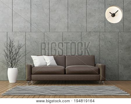 Modern loft living with brown leather sofa 3d rendering image There is a polished concrete wall with groove wood floors and decorate wall with  clock