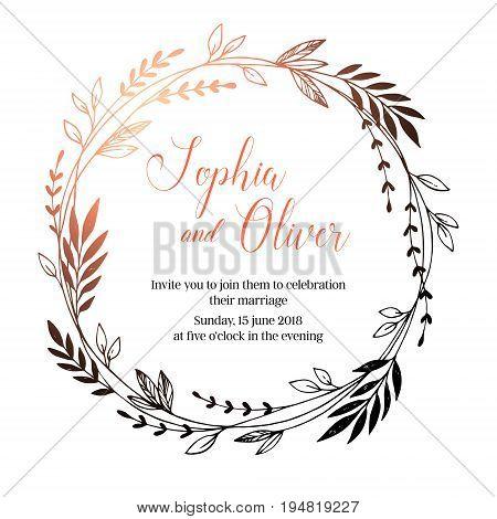 Hand Drawn Vector Wedding Invitation. Vintage Decorative Laurel Wreath. Tribal Design Elements. Perf