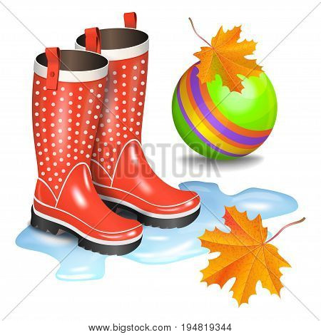 Rain red gumboots with dots in puddle green children's toy ball and falling orange maple leaves. Childhood autumn and rain concept. Realistic vector illustration