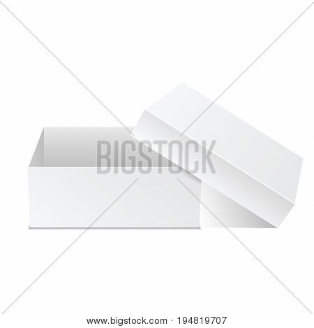 White box. Square box vector illustration with cover. Closed present. Cardboard packaging in side view. Realistic 3d isometric template package and container. Vector isolated mockup.