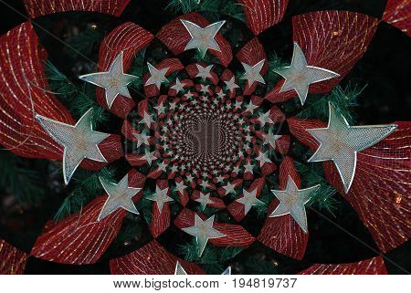 Kaleidoscope of shimmering glittery red and silver ribbons and decorations