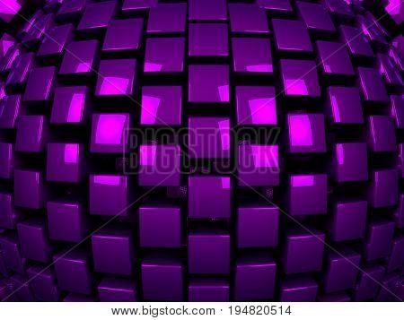 3d purple metal cubes background pattern 3d illustration