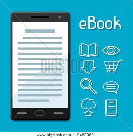 E-book concept. Smart phone with book. Digital library online reading.