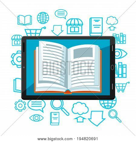 Digital library concept. Tablet with open book. E-book online reading.
