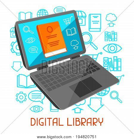 Digital library concept. Laptop with open book. E-book online reading.