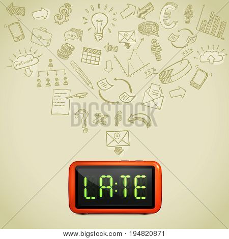 Business lateness concept with hand drawn icons of work processes 3d alarm on beige background vector illustration