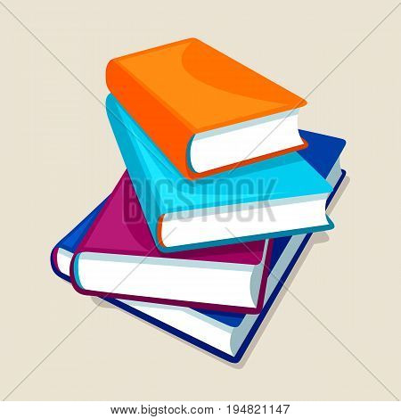 Stack of four books. Illustrations for education and school.