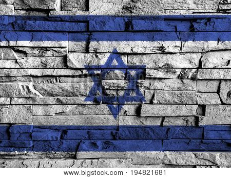 Israel flag painting on high detail of old brick wall . 3D illustration .