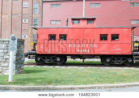 LITITZ, PA - AUGUST 30: View of Reading Caboose at Old Lititz Railroad Train Station on August 30, 2014