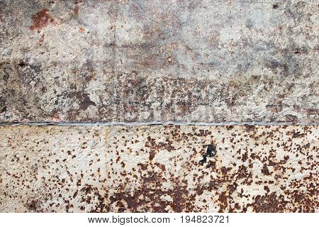 Detailed Photo Texture Of Rust Old White Painted Metal Wall. Old Metal Steel Iron Rust Texture On Ba