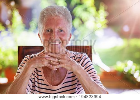 smiling healthy white teeth senior woman
