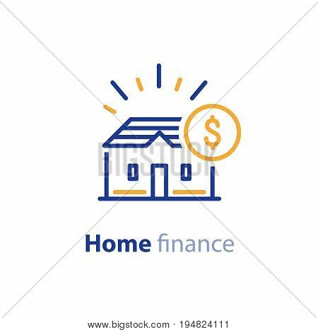 Real estate financial concept, house finance, mortgage money, home payment and insurance, living expenses vector line icon