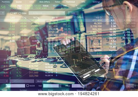 Double exposure of business woman with glasses in hipster shirts holding tablet for check stock market graph with stock and computer graph background Business Trading concept.