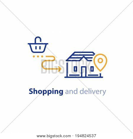 Order delivery to door, shipping to home concept, vector line icon