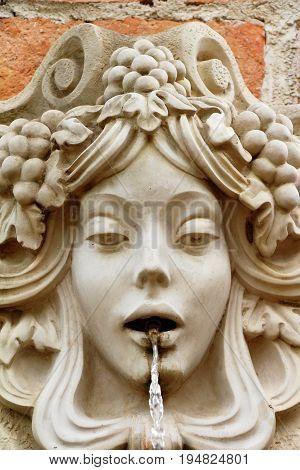 Statue spitting water vintage style in garden