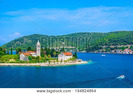 Aerial view on Vis island landscape, summertime in southern Croatia, Europe.
