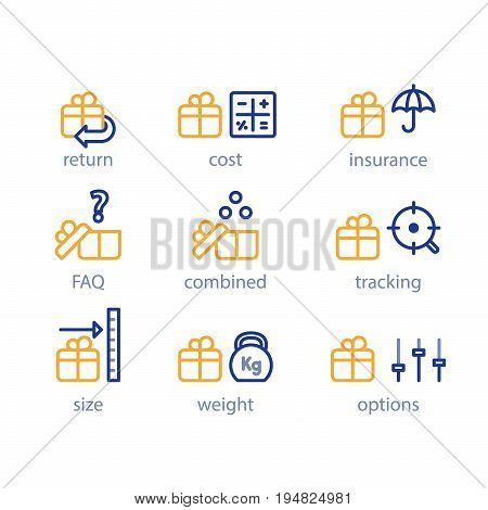 Delivery services, shipping parcel, shipment options, vector line icon set