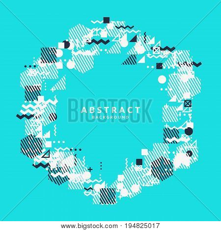 Trendy abstract art geometric background with flat, minimalistic Memphis style. Vector poster with elements for design