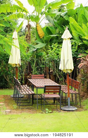Wooden chairs in the garden vintage style