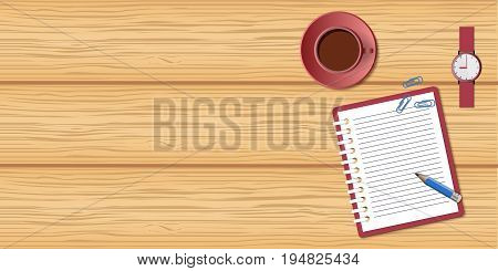 Flat concept of business morning breaktime coffee time. Top view the wood desktop with open spiral notebook wristwatch and cup of coffee. Wood mockup with empty space. EPS 10