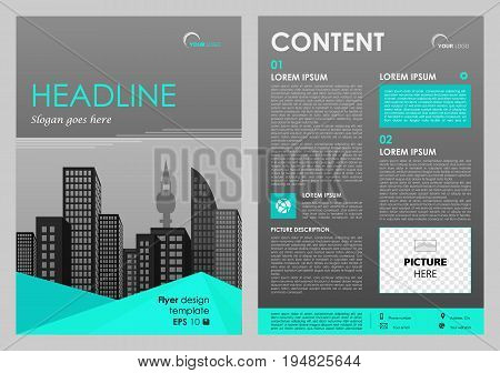 Vector Flyer, Corporate Business, Annual Report, Brochure Design And Cover Presentation With Cyan Tr