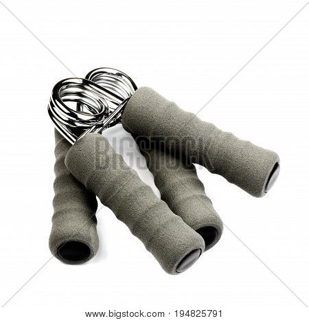 Grey Hand Grip Fitness Strength Expander isolated on White background