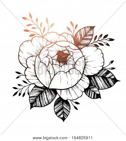 Hand drawn vector illustration - Peony flower. Floral Tattoo sketch. Perfect for tattooing, invitations, greeting cards, quotes, blogs, posters etc.