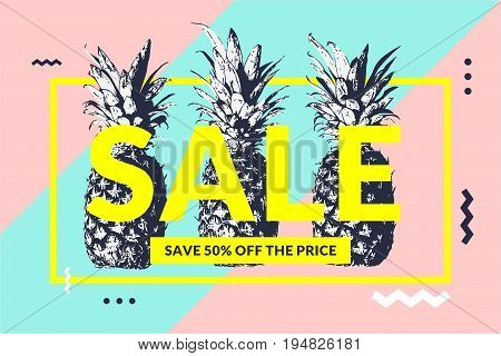 Fashionable modern poster with pineapple, Summer sale. Vector illustration. Original Memphis style banner for discount.
