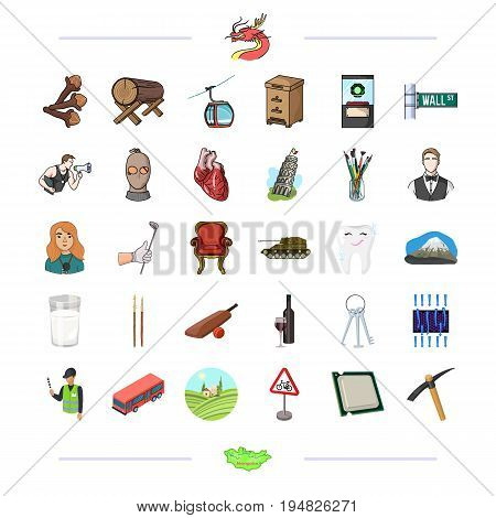 , medicine, business, armament and other  icon in cartoon style. country, map, tourism icons in set collection.