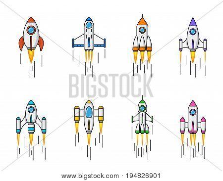 set of rocket icons isolated on white background, flat line art style illustration