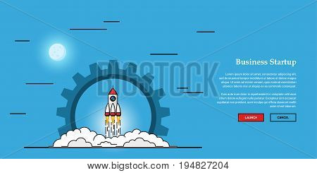 Picture of flying rocket, business startup banner concept, flat style illustration