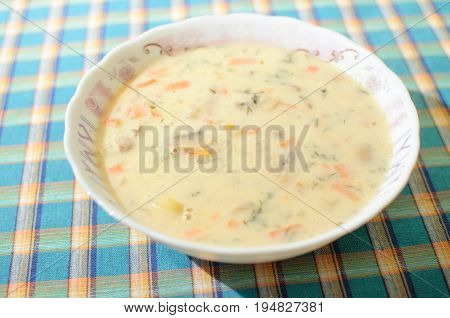 Mushroom Cream Soup In White Bowl, Top View