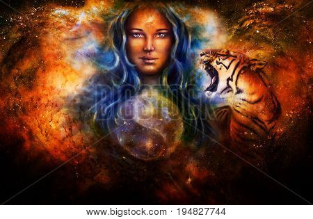 goddess woman and tiger and symbol Yin Yang in cosmic space