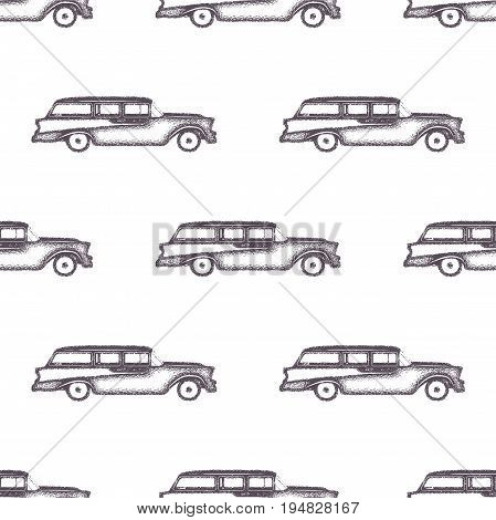Surfing old style car pattern design. Summer seamless wallpaper with surfer van. Monochrome combi car design. Vector illustration. Use for fabric printing, web projects, t-shirts or tee designs