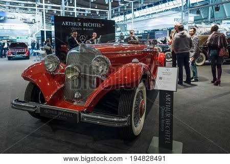 STUTTGART GERMANY- MARCH 17 2016: Luxury car Mercedes-Benz Typ 290 Roadster (W18) 1935. Europe's greatest classic car exhibition