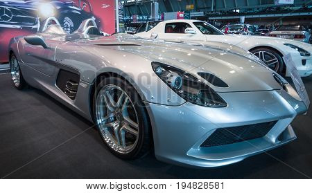 STUTTGART GERMANY- MARCH 17 2016: Grand tourer car Mercedes-Benz SLR Stirling Moss (limited edition 75 vehicles) 2009. Europe's greatest classic car exhibition