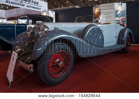 STUTTGART GERMANY - MARCH 17 2016: Retro car Lagonda LG45 Open Tourer 1937. Europe's greatest classic car exhibition
