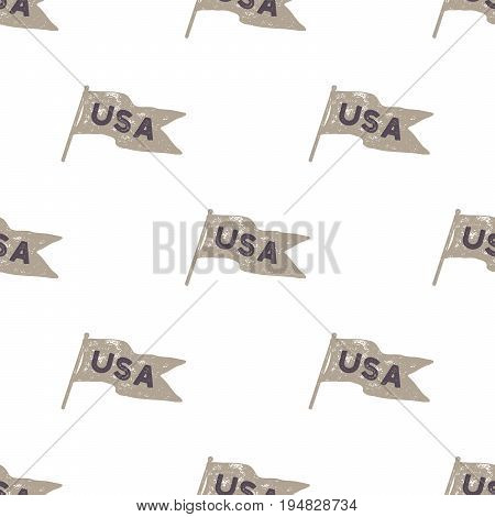 Hand drawn vintage pennant flags seamless. Retro roughen style pattern. USA sign. Easy to change color. Stock vector illustration isolated on white