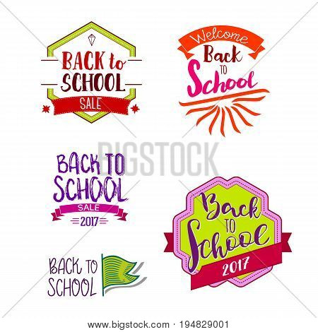 Welcome back to school label collection. School 2017 tags set. Back to school logo collection. Vector illustration. Hand drawn lettering badges. Typography emblem set. Retro styled