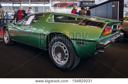 STUTTGART GERMANY - MARCH 17 2016: Sports car Maserati Bora 49 1973. Rear view. Europe's greatest classic car exhibition