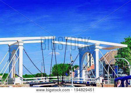 Double Drawbridge in Netherlands Zierikzee. Entrance to the historic port town.