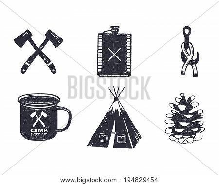 Vintage hand drawn adventure hiking, camping shapes. Retro monochrome design. can be used for t shirts, prints, logotype, badges, icons and other identity. Stock vector illustration.