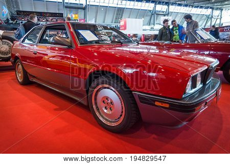 STUTTGART GERMANY - MARCH 17 2016: Luxury sports car Maserati 2.24v Biturbo 1990. Europe's greatest classic car exhibition
