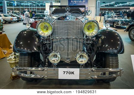 STUTTGART GERMANY - MARCH 17 2016: Full-size luxury car Mercedes-Benz 770K Cabriolet D (W07) 1931. Europe's greatest classic car exhibition