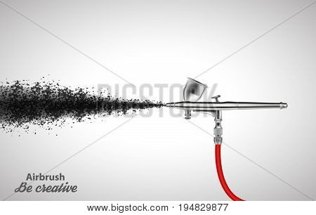 Close up of a airbrush paint sprayer isolated on white background. Vector illustration EPS10