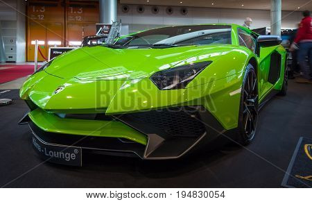 STUTTGART GERMANY - MARCH 17 2016: Mid-engined sports car Lamborghini Aventador LP 750-4 SuperVeloce 2016. Europe's greatest classic car exhibition
