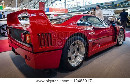 STUTTGART GERMANY - MARCH 17 2016: Sports car Ferrari F40 1989. Rear view. Europe's greatest classic car exhibition