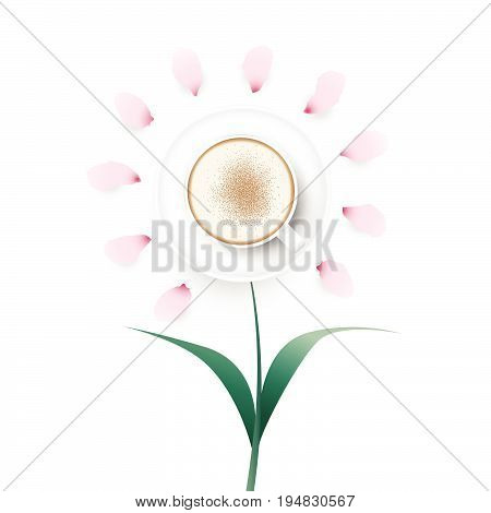 Top view of cappuccino coffee in white cup decorated to look like a flower on white background. Vector illustration.