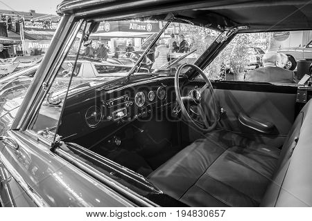 STUTTGART GERMANY - MARCH 17 2016: Cabin of luxury car Hotchkiss Anjou 2050 Cabriolet by Worblaufen 1950. Black and white. Europe's greatest classic car exhibition