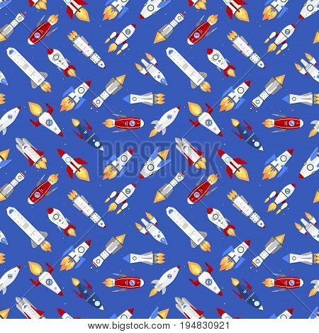 Vector spaceship technology rocketship space vehicle shuttle cartoon seamless pattern background.